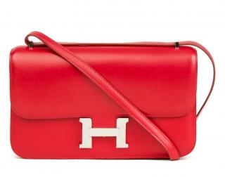 Hermes Tadelakt Leather Red Constance Elan