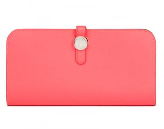 Hermes Rose Azalee Evercolor Leather Drogon Wallet