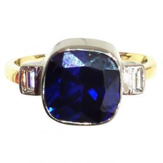 Bespoke 3ct Tanzanite & Diamond trilogy ring