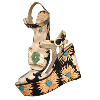 Prada Embroidered Wedge Sandals