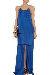 Acne Blue Satya Layered Crepe Maxi Dress
