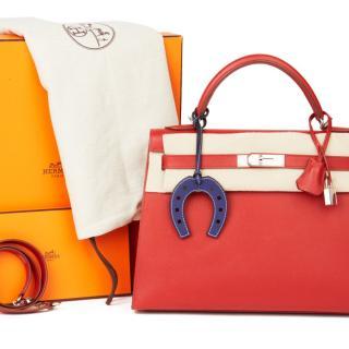 Hermes Epsom Leather Rouge Garance Kelly Sellier 32