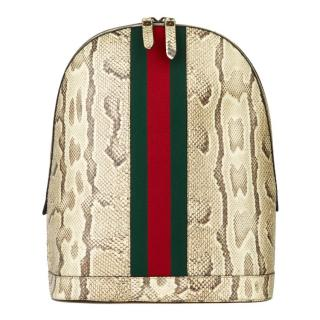 Gucci natural python and web backpack
