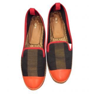 Fendi Leather & Canvas Espadrilles