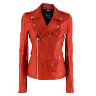 McQ by Alexander McQueen Red Asymmetric Leather Biker Jacket