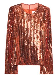 Galvan Orange Sequin Long Sleeve Top