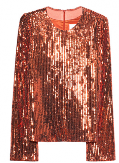 Galvan Orange Sequin Long Sleeve Top