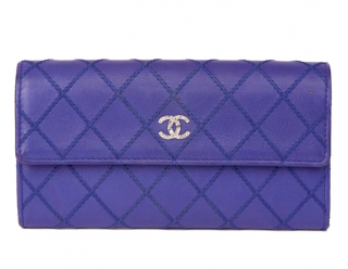 Chanel Blue Diamond Stitch Detail Leather Wallet