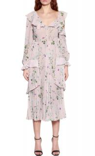 Self Portrait Pleatred Single Cold-Shoulder Floral Dress