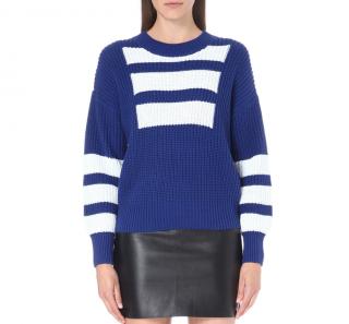 Self Portrait Blue & White Intarsia Knit Sweater