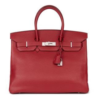 Hermes Fjord Leather Rouge Garance Birkin 35