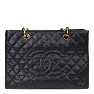 Chanel Black Grand Shopping Tote GST in Quilted Caviar Leather