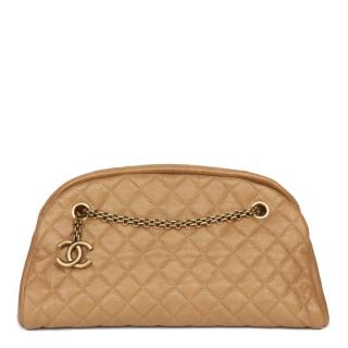 Chanel Just Mademoiselle gold quilted caviar leather bowling bag
