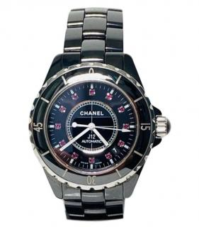 Chanel 38mm J12 black ceramic ruby dot dial watch