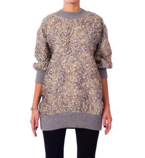 Dolce & Gabbana SIlk Blend Brocade Knit Jumper