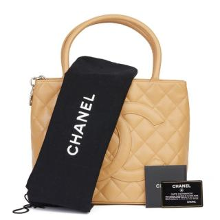 Chanel Beige Medallion Tote in Caviar Leather