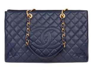 Chanel Navy Caviar Leather XL Grand Shopping Tote