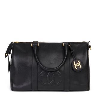 Chanel Vintage Black Boston 35 Bag