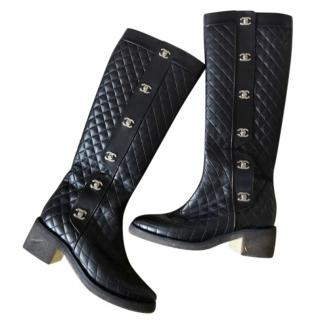 Chanel Black Quilted Leather Long Boots