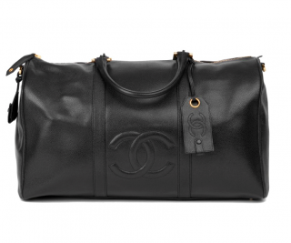 Chanel VIntage Caviar Leather Boston Travel Bag