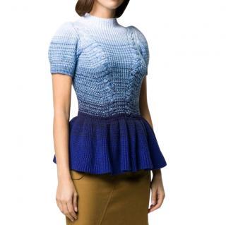 Self Portrait Ombre Blue Knit Top