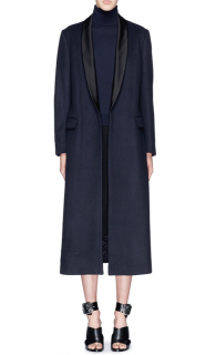 Dries Van Noten Blue Rianka Long Satin Shawl Collar Wool Coat