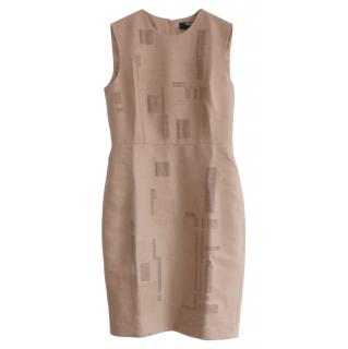 Max Mara x Liu Wei Nude Embroidered Wool Blend Dress