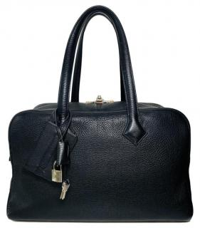 Hermes Black Clemence Leather Victoria II Bag