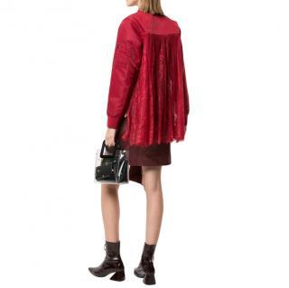 Self Portrait Lace Trim Red Bomber Jacket