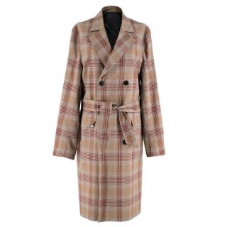 The Kooples Show Boston Check Belted Trench Coat