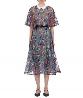 Self Portrait Floral Vine Guipure Lace Midi Dress
