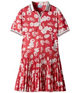 Lanvin Pink Floral Print Pleated Polo Dress