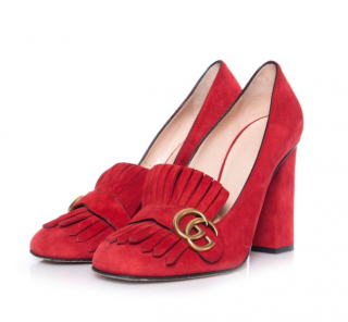 Gucci Red Suede Marmont Fringe Pumps