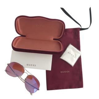 Gucci Rose Pink Aviator Sunglasses