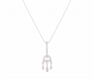 Tiffany & Co. Platinum Diamond Pendant Necklace