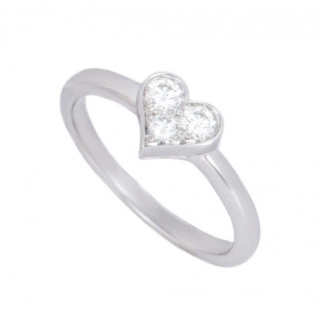 Tiffany & Co. Platinum Triple Diamond Heart Ring