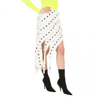 Self Portrait Asymmetric Star Print Distressed Skirt