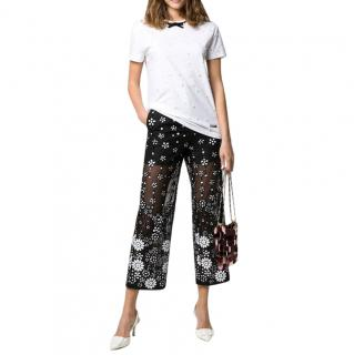Self Portrait Floral Sequin Embellished Cropped Semi-Sheer Trousers