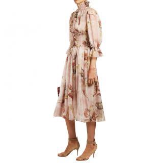 Dolce & Gabbana Cupid and Roses printed silk chiffon dress