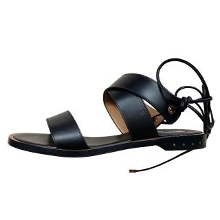 Bally Black leather ankle wrap flat sandals