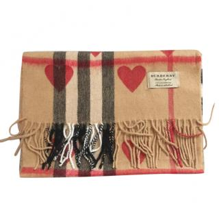 Burberry check and heart print cashmere scarf
