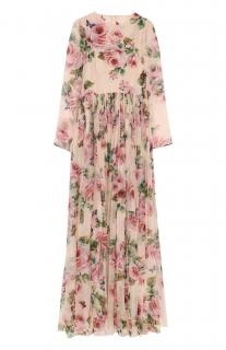Dolce & Gabbana Pink Rose Print Gown