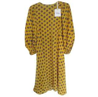 Alysi Yellow Floral Print Puff Sleeve Dress