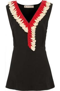 Marni ruffle trim black top