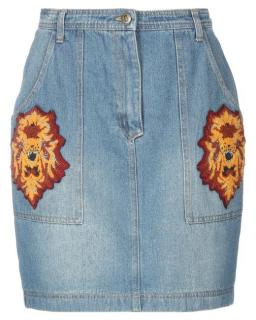 Manoush Denim Tiger Patch Skirt
