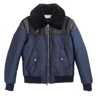 Alexander McQueen Leather & Shearling Panelled Bomber Jacket