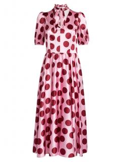 Dolce & Gabbana Pink Pussy Bow Polka Dot Dress