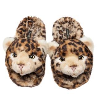 Dolce & Gabbana leopard print faux fur slippers