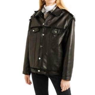 Rio black leather and denim Else biker jacket