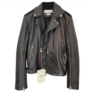 Alexander McQueen black calfskin biker jacket